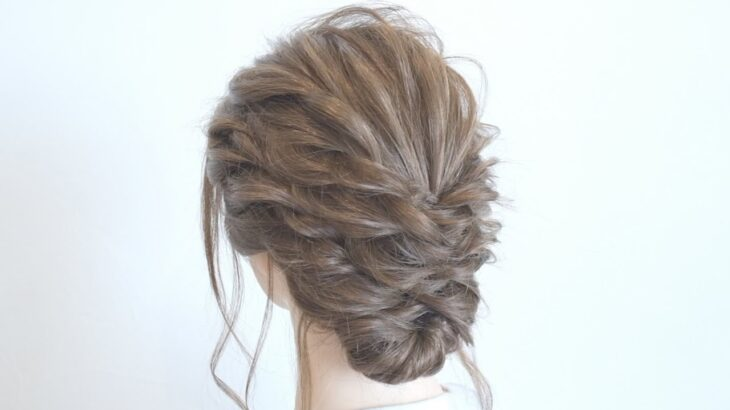 [結婚式や二次会に]ロープ編みで大人可愛いまとめ髪に!    Hairstyle for Wedding